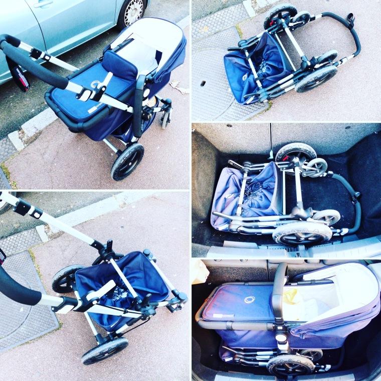 La Bugaboo Cameleon 3 se plie avec une facilité déconcertante, mais la version nacelle prend un peu de place dans le coffre de notre petite voiture
