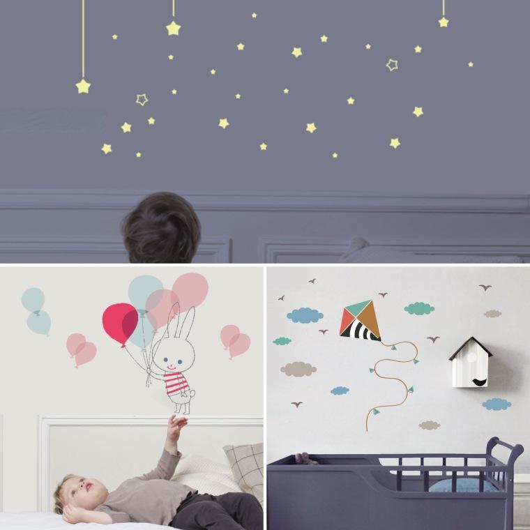 Mur d'étoiles phosphorescentes, 39 €. Balloon rabbit, 25 €. Cerf-volant, 25 €.
