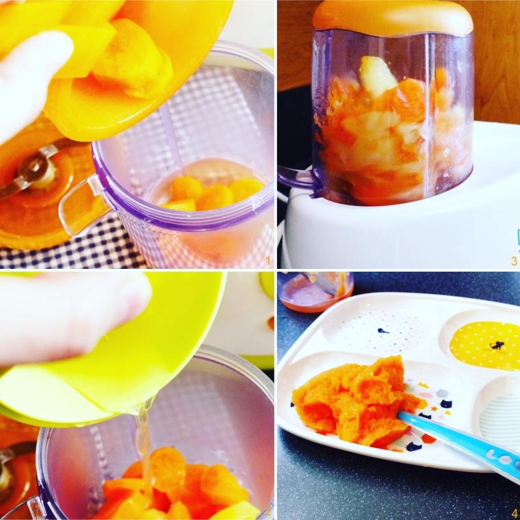 1. Je verse ensuite les légumes cuits dans un bol en verre. 2. Je récupère le jus de cuisson pour que la purée soit plus goûteuse. 3. Je visse l'embout lame sur le bol et je mixe les légumes en quelques secondes. 4. La purée de carottes est prête !