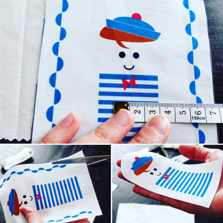 ETAPE 2 Découper le coupon de tissu à 1,5 cm du modèle.