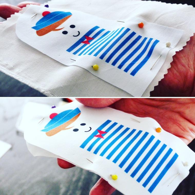 ETAPE 3 : Epingler le modèle sur le tissu du verso puis découper le contour.